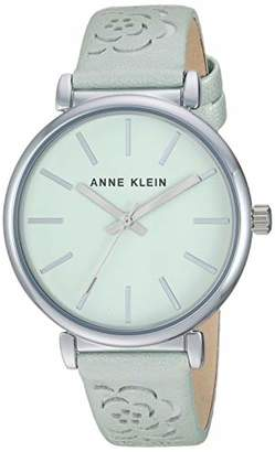 Anne Klein Women's AK/3379MINT Silver-Tone and Mint Green Strap Watch