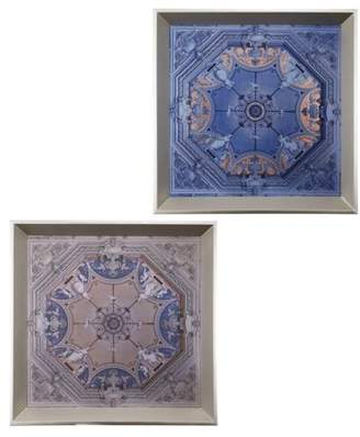 A&B Home Set of 2 Breakers Mansion Trays