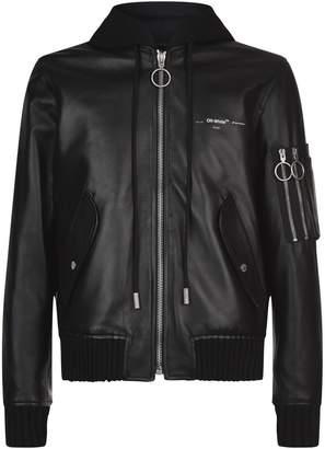 Off-White Hooded Leather Bomber Jacket