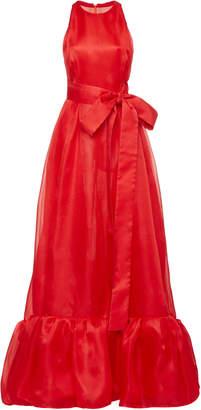 Carolina Herrera Halter Gown With Ruffle Hem