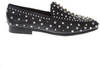 Lola Cruz Black Leather Studs Loafer
