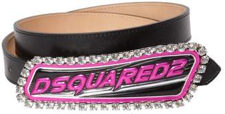DSQUARED2 24mm Embellished Logo Patch Leather Belt