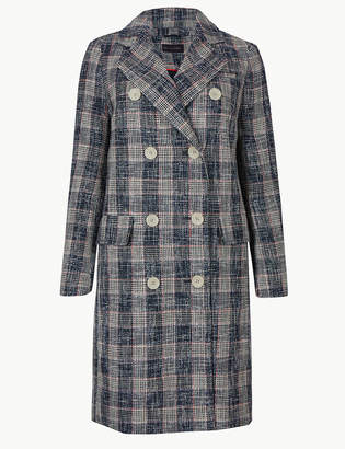 Marks and Spencer PETITE Checked Double Breasted Coat