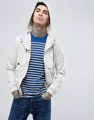 Pretty Green zip through hooded jacket in stone