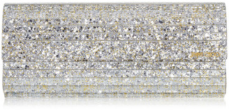 Jimmy Choo SWEETIE Champagne Coarse Glitter Acrylic Clutch Bag