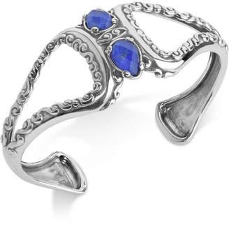Lapis Carolyn Pollack Lazuli/Rock Quartz Openwork Statement Cuff Bracelet (4-1/5 ct. t.w.) in Sterling Silver