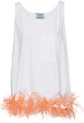 Prada Feather-Trimmed Cotton-Jersey Top