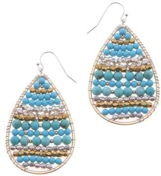 Nakamol Design Beaded Moonstone Teardrop Earrings