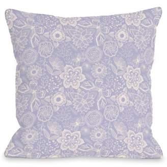 One Bella Casa Kiley floral bright lavender - Lavendar 18x18 Pillow by OBC