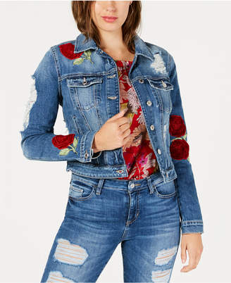 GUESS Ripped Embroidered Denim Jacket