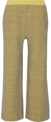 KÉJI - Metallic Cotton-blend Wide-leg Pants - Chartreuse