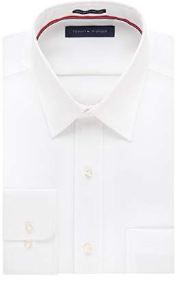 Tommy Hilfiger Men's Regular Fit Non Iron Solid Point Collar Dress Shirt