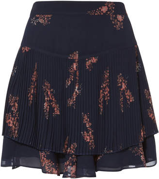 Derek Lam 10 Crosby Pleated Navy Mini Skirt