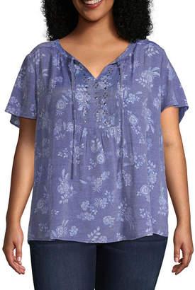 fd0e2995a Liz Claiborne Embellished Peasant Blouse - Plus