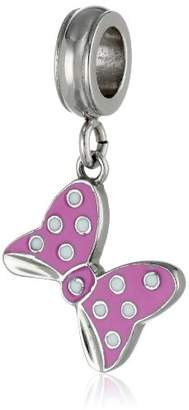 Disney Stainless Minnie Enamel Dangle Bow Bead Charm