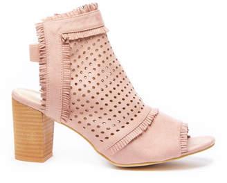 Gc Shoes GC Shoes Kyra Peep Toe Perforated Fringe Block Heel
