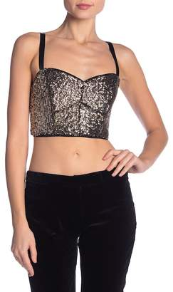 Milly Sequin Bustier Crop Top