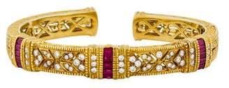 Judith Ripka 18K Ruby & Diamond Cuff