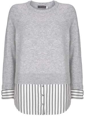 Mint Velvet Silver Grey Stripe Hem Knit
