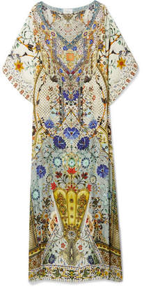 Camilla The Butterfly Effect Embellished Printed Silk Crepe De Chine Kaftan - Off-white