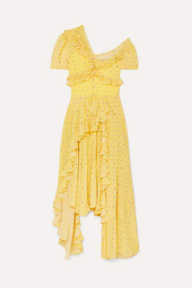 Preen by Thornton Bregazzi Kennedy Asymmetric Ruffled Floral-print Georgette Dress - Yellow