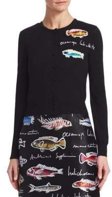 Oscar de la Renta Cropped Fish Embroidered Cardigan