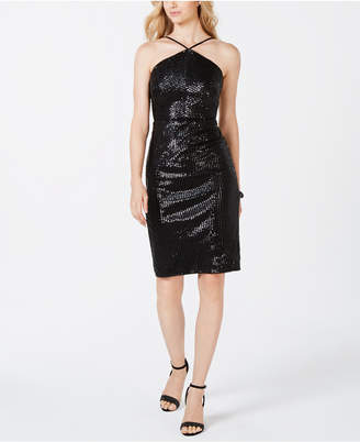 Adrianna Papell Sequin Halter Midi Dress