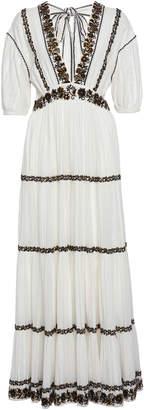 Ulla Johnson Alma Tiered Peasant Cotton Maxi Dress Size: 0
