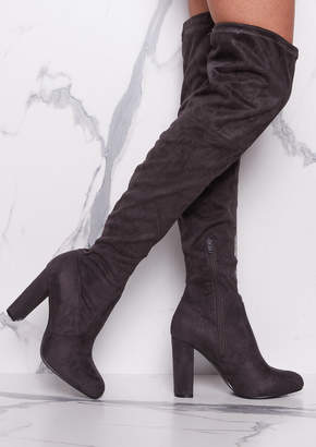 8520e042378 Missy Empire Missyempire Lolita Grey Suede Thigh High Heeled Boots