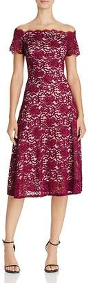 Adrianna Papell Off-the-Shoulder Lace Midi Dress