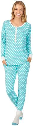 Cuddl Duds Women's Enchanted Henley Top, Jogger & Socks Pajama Set
