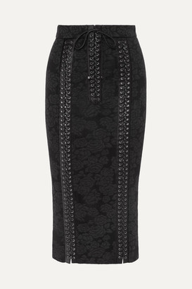 Dolce & Gabbana Lace-up Satin-trimmed Lace Pencil Skirt - Black