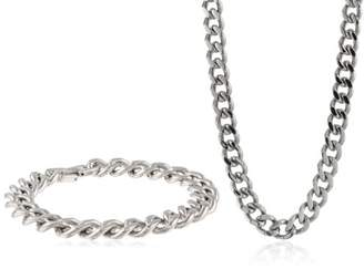 Men's Stainless Steel Curb Chain Bracelet and Necklace Box Set
