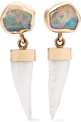 Melissa Joy Manning 14-karat Gold, Opal And Pearl Earrings - one size