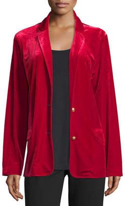 Joan Vass Plus Size Velvet Two-Button Blazer