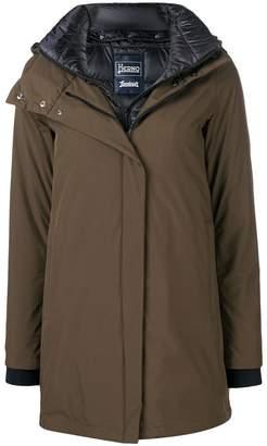 Herno layered hooded coat