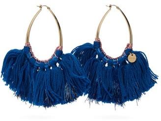 Missoni Long Wool And Lurex Tasseled Hoop Earrings - Womens - Blue