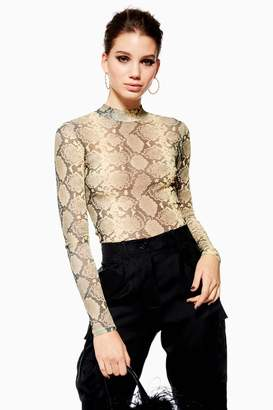 Topshop Womens Petite Snake Print Long Sleeve Top - Sand