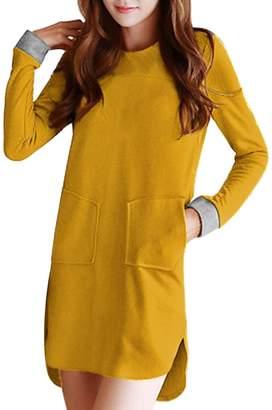 Allegra K Ladies Front Pockets Low-High Hem Leisure Dress XS