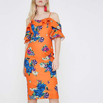 River Island Womens Orange floral cold shoulder bodycon dress