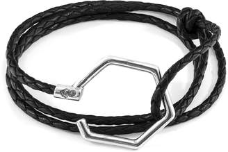 ANCHOR & CREW - Coal Black Storey Silver & Braided Leather Bracelet
