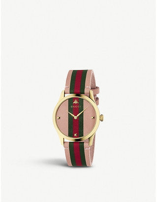 dfe19b5f68d Gucci YA1264118 G-Timeless gold and leather watch