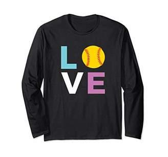 Softball Long Sleeve Tee Shirt Pastel Colors for Women
