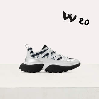 Maje W20 sneakers in leather and gingham