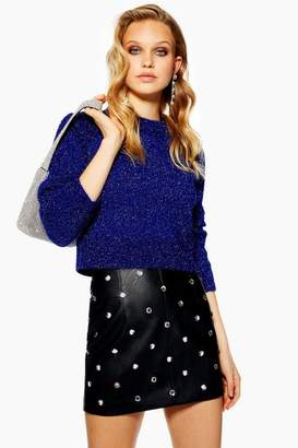 Topshop Womens Tinsel Cropped Jumper