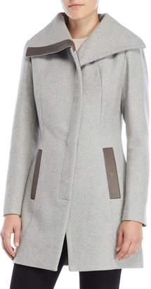 Soia & Kyo Wool Leather Trim Coat