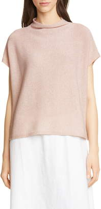 Eileen Fisher Funnel Neck Cotton Blend Boxy Sweater
