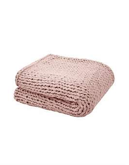 Bambury Chunky Knit Throw Rosewater