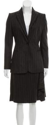 Valentino Wool & Angora Pinstripe Skirt Suit