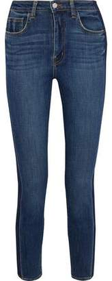 L'Agence High 10 Cropped Two-Tone Mid-Rise Skinny Jeans